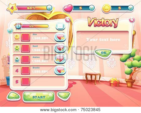 computer game with a loading background bedroom princess, user interface and various element. Set 3