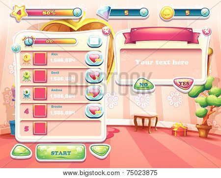 computer game with a loading background bedroom princess, user interface and various element. Set 2
