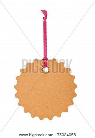Cardboard Tag With  Ribbon And Bow Isolated On White Background