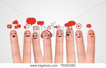 Happy Group Of Finger Smileys With Social Chat Sign And Speech Bubbles. Fingers Representing A Socia