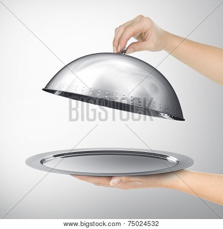 Restaurant cloche with open lid. 3d illustration