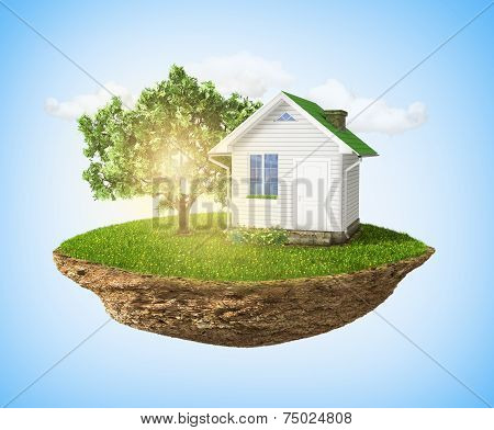 Beautiful Small Island With Grass And Tree And House Levitating In The Sky