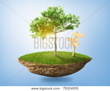 Beautiful Small Island With Grass And Tree Levitating In The Sky