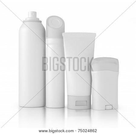 Blank cosmetic tubes on white background. White and silver colors. Place for your text.