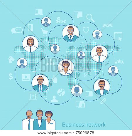 Business Network. Concept Illustration Of Management, Organization And Teamwork