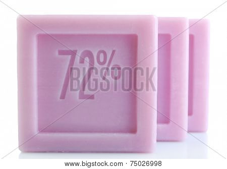 Bars of natural soap isolated on white
