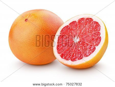 Ripe Grapefruit Citrus Fruit With Half Isolated On White