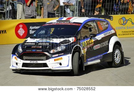 BARCELONA - OCT,23: Julien Maurin of France and Nicolas Klinger of France in their FORD Fiesta R5 during the Rally Catalunya-Costa Daurada of the WRC  on October 23, 2014 in Barcelona, Spain