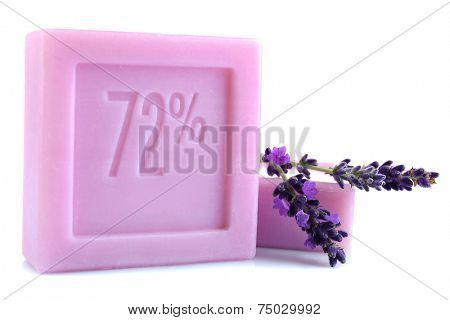 Bars of natural soap with fresh lavender isolated on white