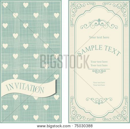 Set Of Invitation Cards On Vintage Background