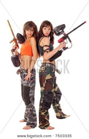 Girls Playing Paintball