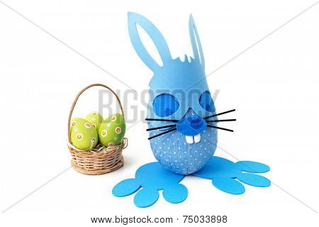 Blue bunny and Easter basket as Easter theme