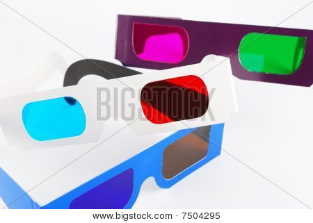 Blue amber red cyan and green magenta 3d anaglyph glasses