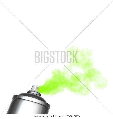 render of a graffiti spray can spraying a green mist