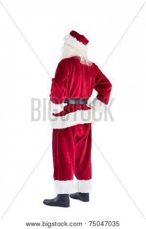Santa looks away from the camera on white background