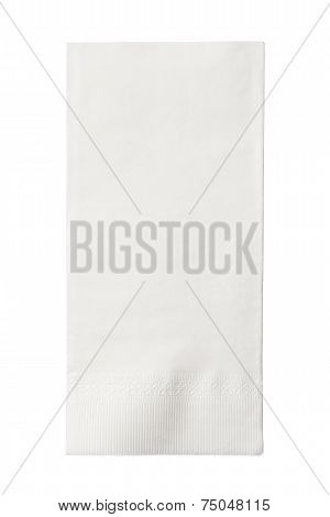 One White Paper Napkin Isolated On White Background