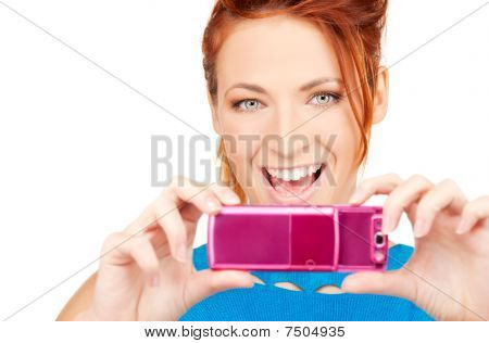 Happy Woman Using Phone Camera