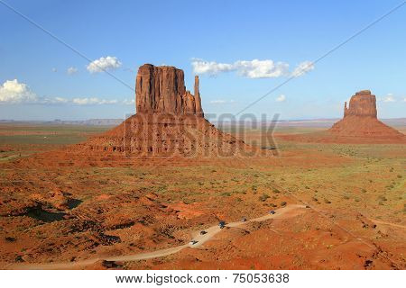 Traffic Winding Through Monument Valley In Arizona