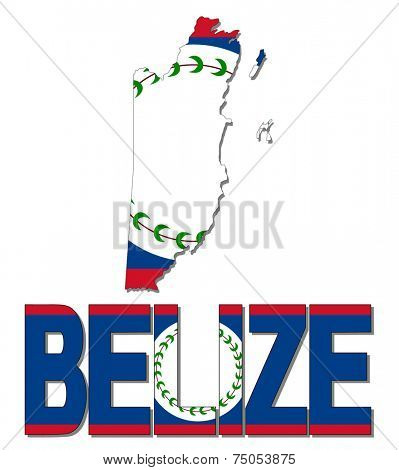 Belize map flag and text vector illustration