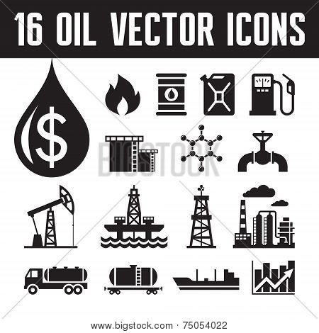 16 oil industry vector icons