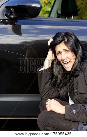Woman Screaming Angry Of Scratched Car