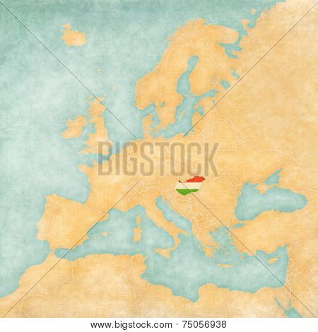 Map Of Europe - Hungary (vintage Series)