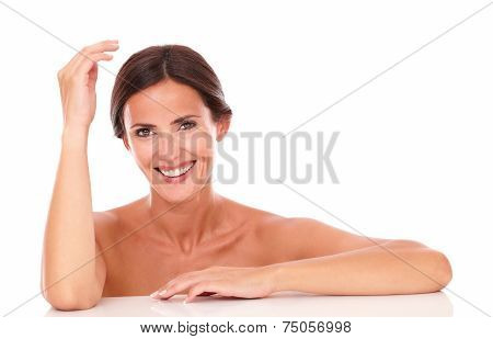 Mature Woman Laughing And Looking At Camera