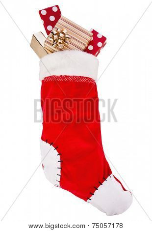 Christmas stocking with gifts isolated on white background