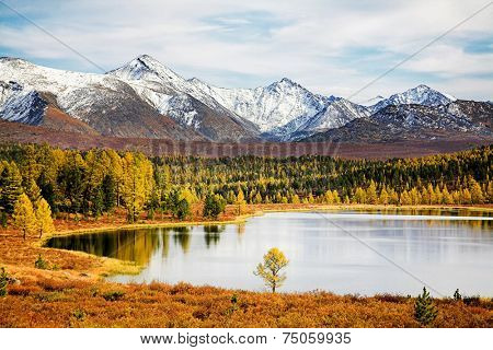 Autumn landscape with lake and snow mountains