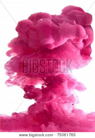 Pink cloud of ink