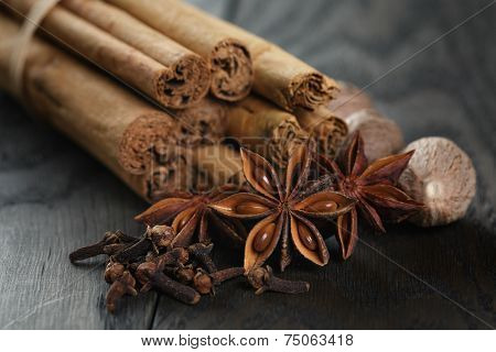 Bunch Of Cinnamon Sticks With Nutmeg, Anise And Cloves