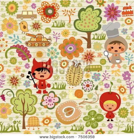 Floral Abstract and Children