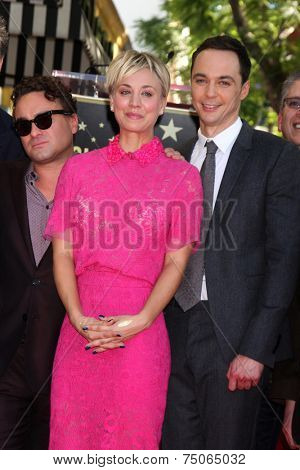 LOS ANGELES - OCT 29:  Johnny Galecki, Kaley Cuoco, Jim Parsons at the Kaley Cuoco Honored With Star On The Hollywood Walk Of Fame at the Hollywood Blvd. on October 29, 2014 in Los Angeles, CA