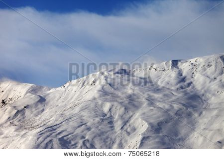 View On Off-piste Slope In Wind Morning