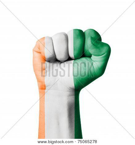 Fist Of Ivory Coast Flag Painted