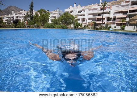 Diving Front In A Pool