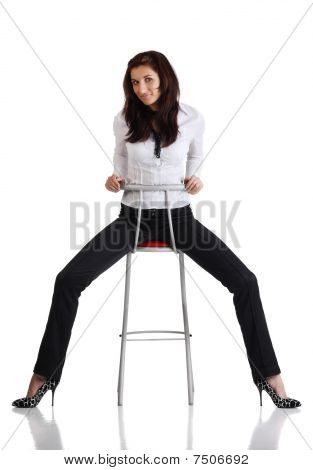 Girl Sitting On The Bar Chair
