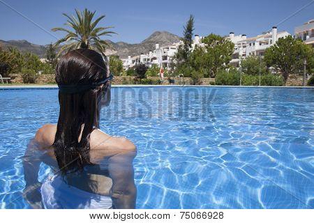 Woman Ready To Swim