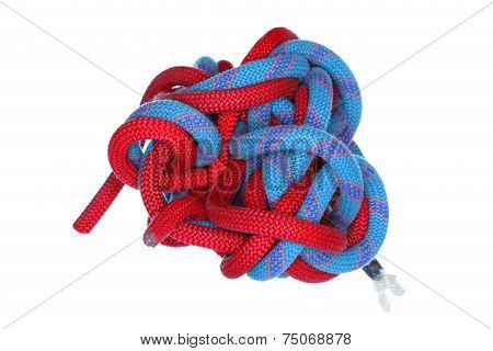 Knot with red and blue ropes