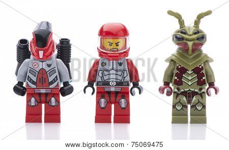Ankara, Turkey - August 08, 2013: Lego Galaxy Squad hive crawler minifigures isolated on white background.