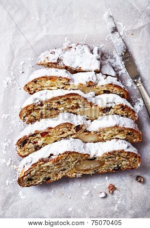 Dresden Christmas Stollen, sliced (Germany)