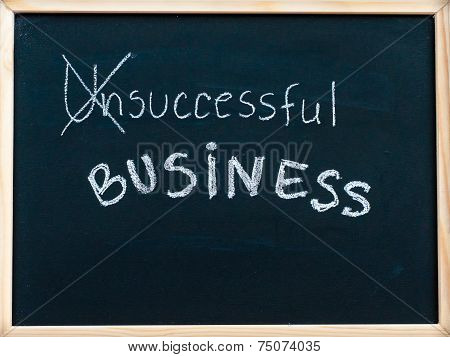 Successful Business Message Turned From Unsuccessful, Handwritten With White Chalk On Blackboard