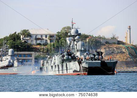 Warship in the Black Sea in the Crimean port of Sevastopol, Ukraine