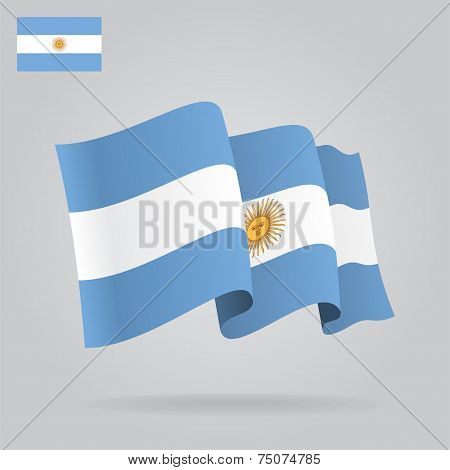 Flat and waving Argentine Flag. Vector
