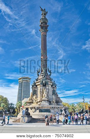 The Columbus Monument (mirador De Colom) In Barcelona