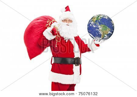 Santa Claus holding bag of presents and the earth isolated on white background, Earth image in public domain and furnished by NASA