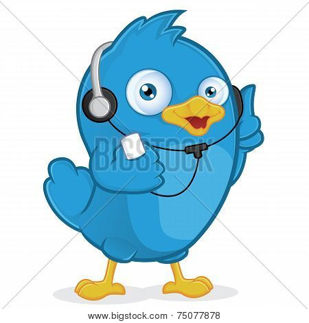 Blue Bird Listening to Music