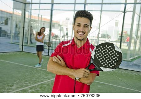 Paddle Tennis Couple In Court