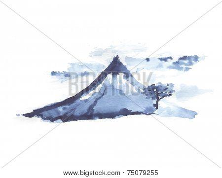 Mountain Fuji, volcano, japanese art, vector illustration