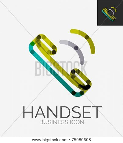 Minimal line design logo, phone handset, business icon, branding emblem